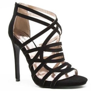 Shoes - Glee Black Faux Suede Strappy Stiletto Sandals